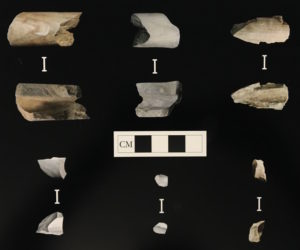 Tubular stone pipe fragments found at the Madeira site in Moorestown.