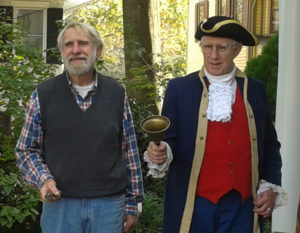 Jack Cresson and Bill Archer on Smith-Cadbury Mansion's porch.