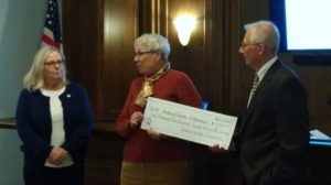 Jeanne Alper and Gail Greenberg from the Indian Springs Questers present Lenny Wagner with a very generous donation!